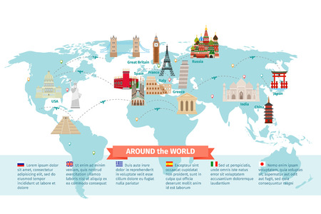Ilustración de World landmarks on map. Kremlin and Eiffel and Leaning tower, China and Japan and India. Vector illustration - Imagen libre de derechos
