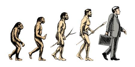 Illustration pour Businessman evolution, people silhouette, grow monkey evolve, vector illustration - image libre de droit