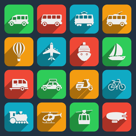 Transport icons set. Taxi and train, motorcycle and moped, boat and airplane, helicopter and bicycle. Vector illustration