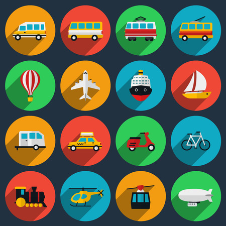 Photo pour Transportation flat icons set. Minibus and boat, moped and motorcycle, train and taxi, trolleybus and airplane, yacht and ship. Vector illustration - image libre de droit