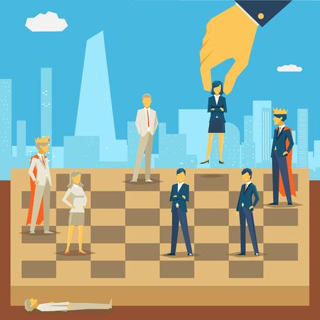 Ilustración de Corporate business chess. Strategy and people, success competition game, person businessman, vector illustration - Imagen libre de derechos