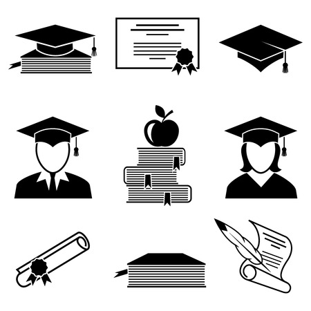 Illustrazione per Graduation and education icons set. University and student, apple and person, undergraduate and diploma, book and certificate, vector illustration - Immagini Royalty Free