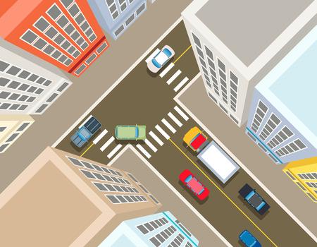 Ilustración de Crossroads in the city top view. Transport car, urban and asphalt, traffic and building. Vector illustration - Imagen libre de derechos