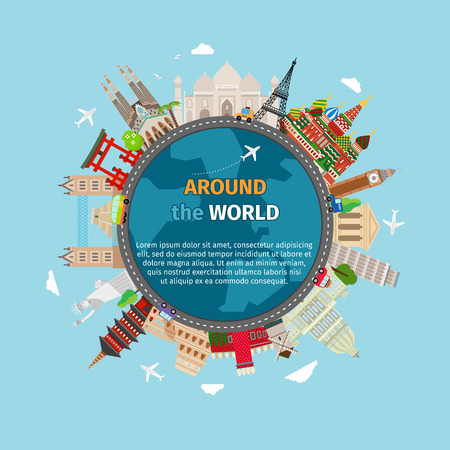 Illustration for Travel around the world postcard. Tourism and vacation, earth world, journey global, vector illustration - Royalty Free Image