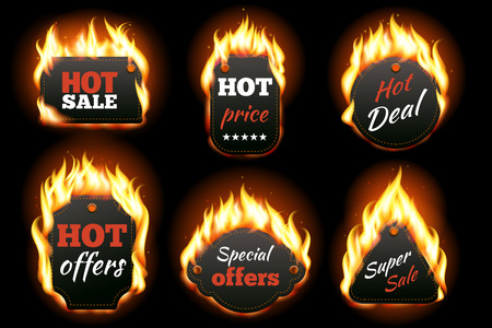 Illustration pour Vector fire labels set. Price and sale, deal and offer, special tag or badge, business promotion. Vector illustration - image libre de droit