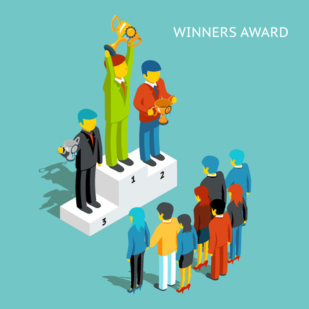 Illustration for Business award winners. Successful business people with cups, 3d isometric. Victory champion, winner and first man, businessman reward, win competition - Royalty Free Image
