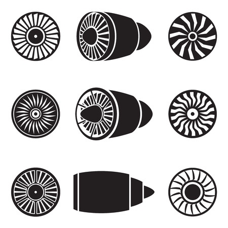 Illustrazione per Turbines icons set. Technology aircraft, engine power, blade and fan.  - Immagini Royalty Free