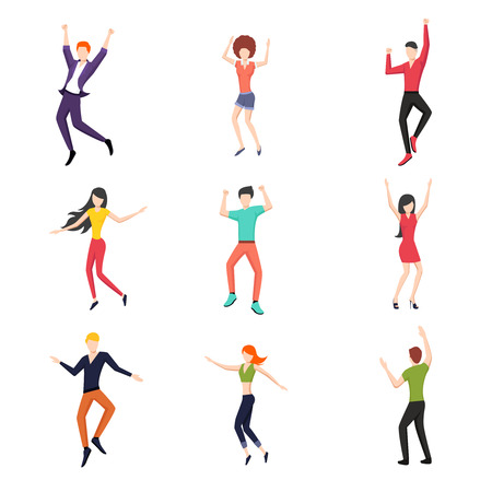 Illustration pour Set of dancing people in flat style. Young and dance, dancer pose set, fashion and happy.  - image libre de droit