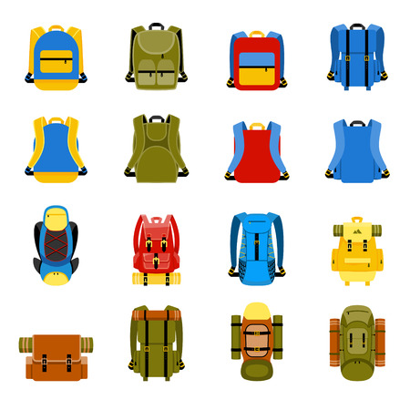 Illustration pour Travel backpack, camping rucksack and school bag icons. Travel hiking, tourism and luggage vector illustration - image libre de droit