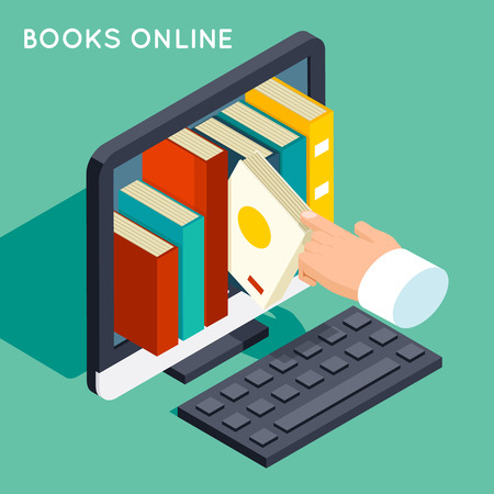 Illustration pour Books online library isometric 3d flat concept. - image libre de droit