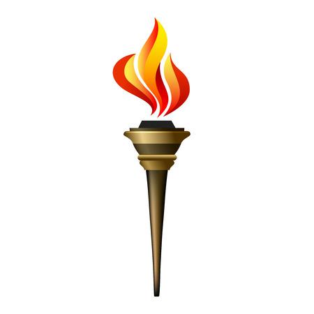 Ilustración de Vector torch icon. Hot flame, power flaming, heat and liberty, victory success, glow triumph illustration - Imagen libre de derechos