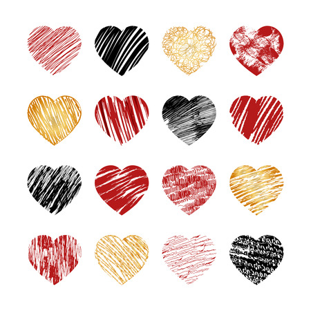 Ilustración de Vector hand drawn heart icons for valentines and wedding. Sign, drawing marriage set, collection silhouette pattern decor, amour decorative illustration - Imagen libre de derechos