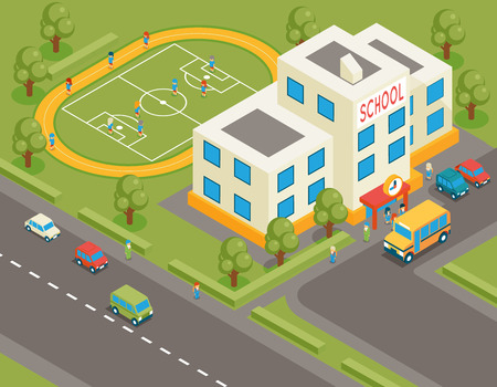 Photo for Isometric school or university vector building. 3d student avatar and school bus. Flat design.  Street structure, pupils and football field, tree and road, vector illustration - Royalty Free Image