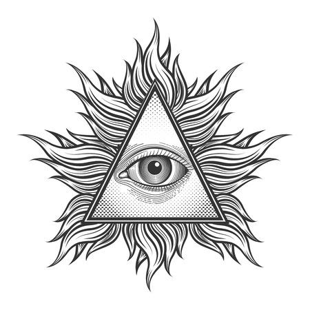 Ilustración de All seeing eye pyramid symbol in the engraving tattoo style. Freemason and spiritual, illuminati and religion, triangle magic, vector illustration - Imagen libre de derechos