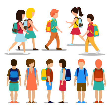 Photo pour Kids going to school. Student and pupil, education people person, vector illustration - image libre de droit