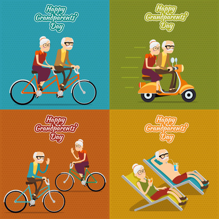 Illustration for Happy grandparents day vector background, poster or post card. Grandmother and grandfather, people old woman and man illustration set - Royalty Free Image