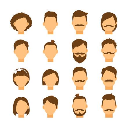 Ilustración de Women hairstyle and men hair style hipster. Portrait girl and boy head, fashion people, vector illustration - Imagen libre de derechos