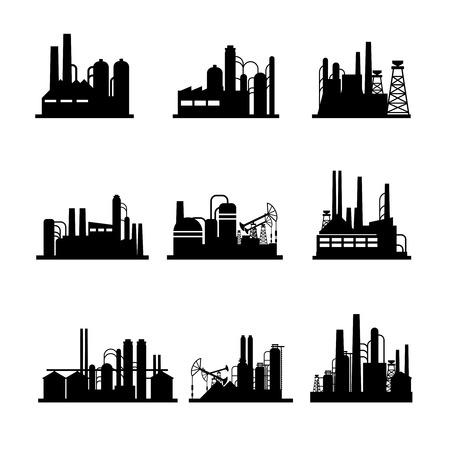 Ilustración de Oil refinery and oil processing plant icons.  - Imagen libre de derechos