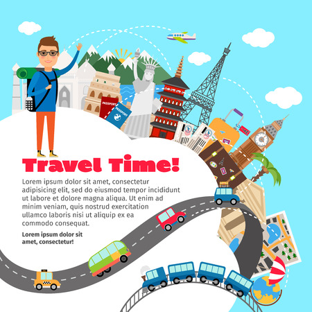 Illustration for World travel and summer vacation planning.  - Royalty Free Image