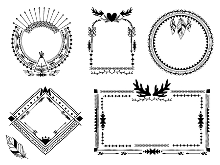 Illustration for Hand drawn tribal frames. - Royalty Free Image