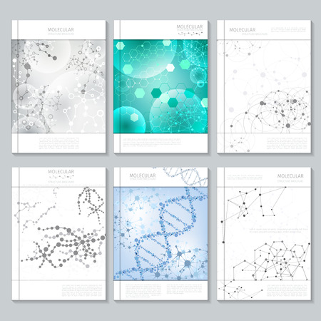 Ilustración de Molecular structure brochure or report templates for business. Poster or booklet, presentation and publication, page report, vector illustration - Imagen libre de derechos