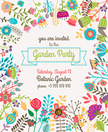Ilustración de Garden or summer party invitation template or poster. Nature flower set design vector illustration plant - Imagen libre de derechos