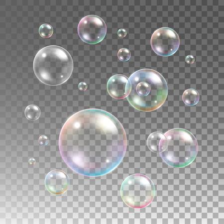 Illustration pour Transparent multicolored soap bubbles vector set on plaid background. Sphere ball, design water and foam, aqua wash illustration - image libre de droit