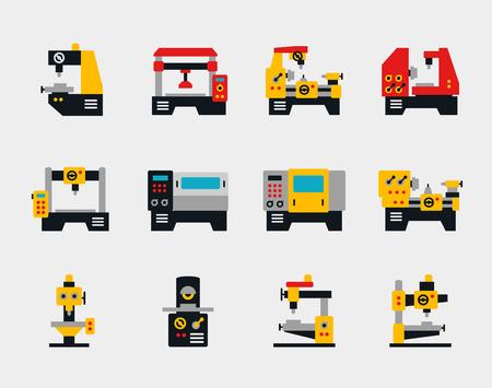 Ilustración de Conveyor units and machines flat icons set. Industry work, factory production, vector illustration - Imagen libre de derechos