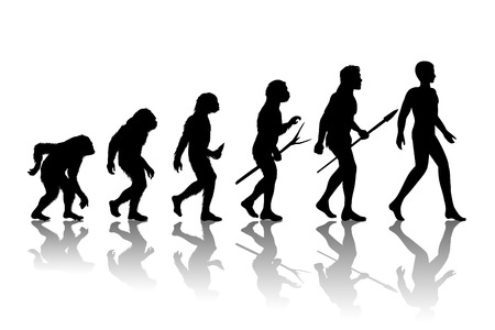 Illustration pour Man evolution. Silhouette progress growth development. Neanderthal and monkey, homo-sapiens or hominid, primate or ape with weapon spear or stick or stone. Vector illustration - image libre de droit