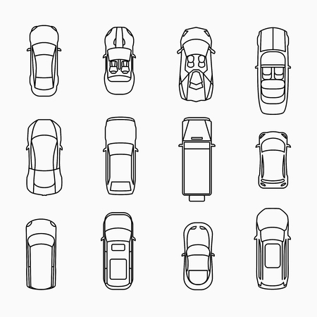 Foto de Car icons top view set. Automobile and vehicle, vector illuistration - Imagen libre de derechos