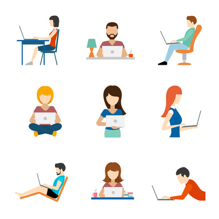 Illustration pour People working on computer flat icons. Person job, businessman and businesswoman, vector illustration - image libre de droit