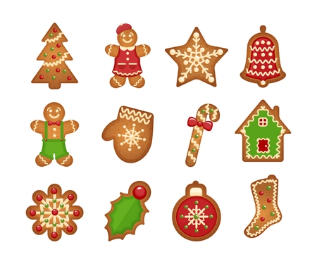 Illustration pour Christmas gingerbread cookies on white background. Christmas tree and star, bell and house - image libre de droit