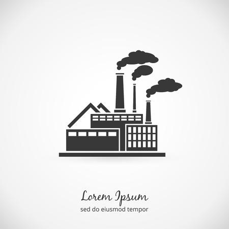 Ilustración de Factory logo. Building plant industrial, power energy, manufacturing station. Vector illustration - Imagen libre de derechos