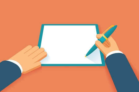 Illustration pour Hands sign contract. Agreement paper document, petition or pact, agree license, legal paperwork, vector illustration - image libre de droit