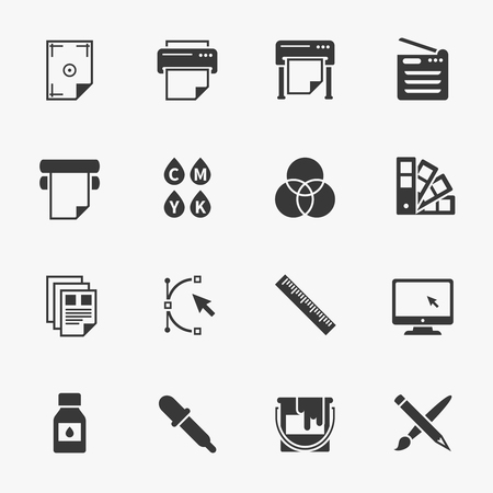 Ilustración de Vector set of printing icons. Palette and printer, curve bezier, color production, pencil and paintbrush illustration - Imagen libre de derechos