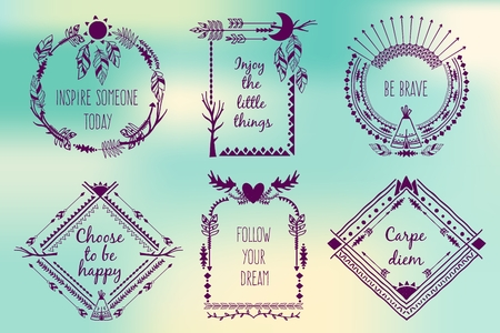 Ilustración de Hand drawn boho style frames with place for your text. Arrow and feather and horns, art vector illustration - Imagen libre de derechos