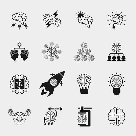 Illustration pour Brainstorming black icons set. Creative brain idea concepts. Thinking efficiency, strong knowledge, vector illustration - image libre de droit