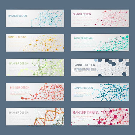 Ilustración de Abstract geometric DNA vector banners. Science poster design, structure chemistry, connect nuclear atom illustration - Imagen libre de derechos