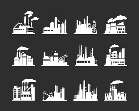 Illustration pour Set of industry manufactory building icons. Plant and factory, power and smoke, oil and energy, nuclear manufacturing station. Vector illustration - image libre de droit