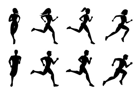 Foto für Running people silhouettes. Sport run, active fitness, exercise and athlete, vector illustration - Lizenzfreies Bild