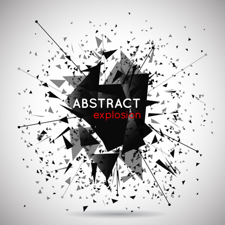 Illustration for Vector abstract black explosion background. Space and energy, shape and effect, particle and power illustration - Royalty Free Image