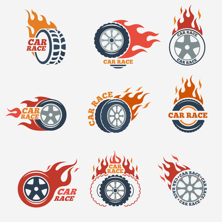 Illustration for Racing flat labels set. Blaze and flash, auto transport, flame tire, vector illustration - Royalty Free Image