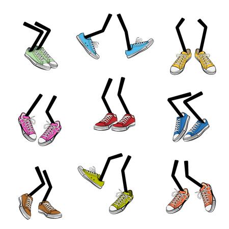 Ilustración de Cartoon walking feet. Step and sole, sneaker clothing, leg fashion, cute and comic, vector illustration - Imagen libre de derechos