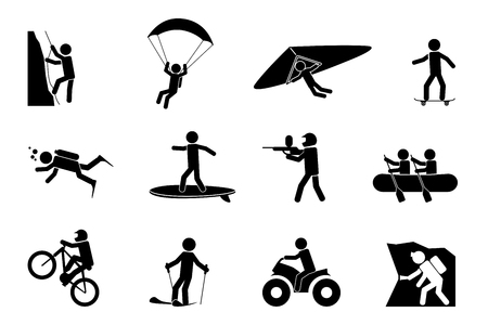 Illustration pour Extreme sports or adventure icons. Speleology and parachute, swimming and paintball, climb and skateboard, vector illustration - image libre de droit
