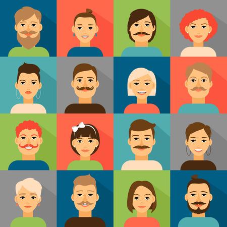 Illustration pour Avatar app icons. User hipster face set. Portrait people, person vector illustration - image libre de droit