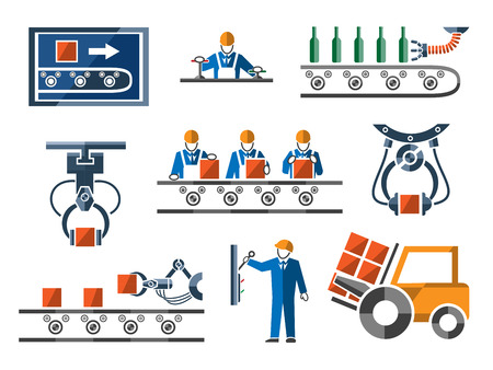 Illustration pour Industrial and engineering icons set in flat design style. Process and control, machinery and tool, power engineering arm, vector illustration - image libre de droit