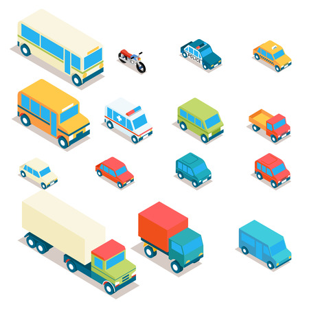 Foto de Isometric city transport and trucks vector icons. Cars, minibus, bus, jeep, police car, taxi, ambulance 3d set. Transportation illustration, vehicle design - Imagen libre de derechos