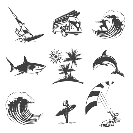 Ilustración de Surfing icons set. Sport surf sea, beach and travel, surfer sign, vector illustration - Imagen libre de derechos