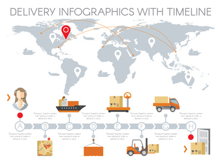 Foto de Delivery infographics with timeline. Management warehouse, business logistic, transportation service flat design. Vector illustration - Imagen libre de derechos