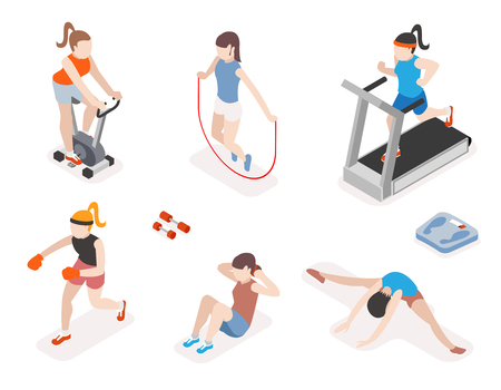 Photo for Fitness women in gym, gymnastics workout and yoga exercises. 3d isometric icons. Sport people, health and jumping rope, vector illustration - Royalty Free Image
